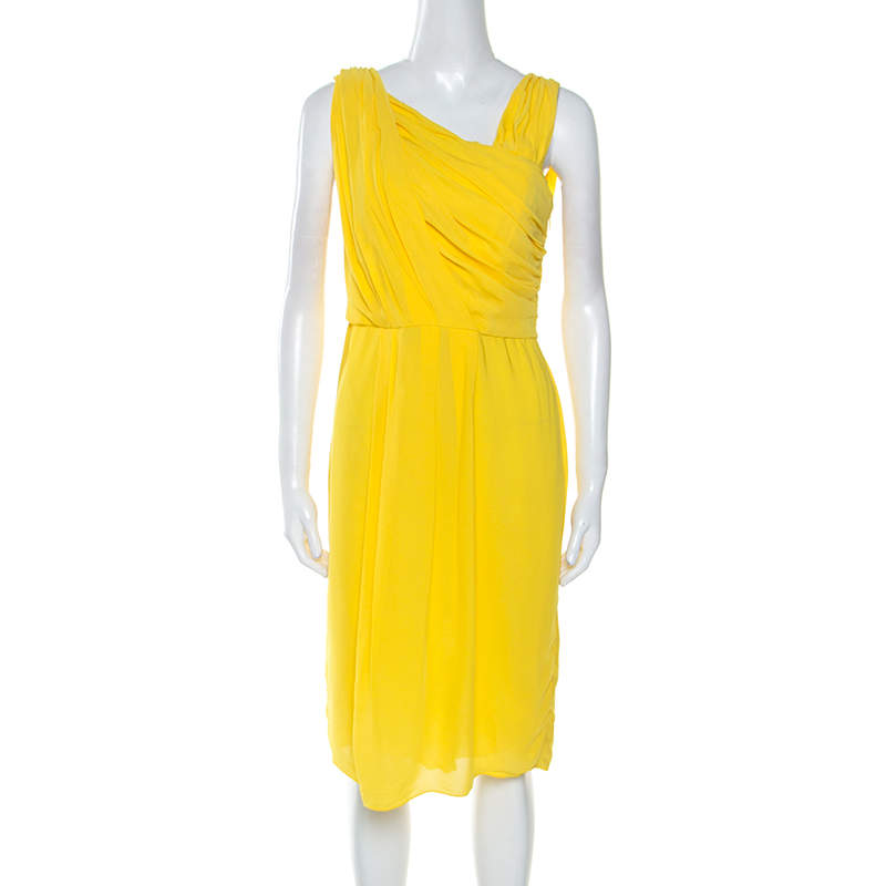 Boss By Hugo Boss Yellow Crepe Pleated Sleeveless Drapira Dress L