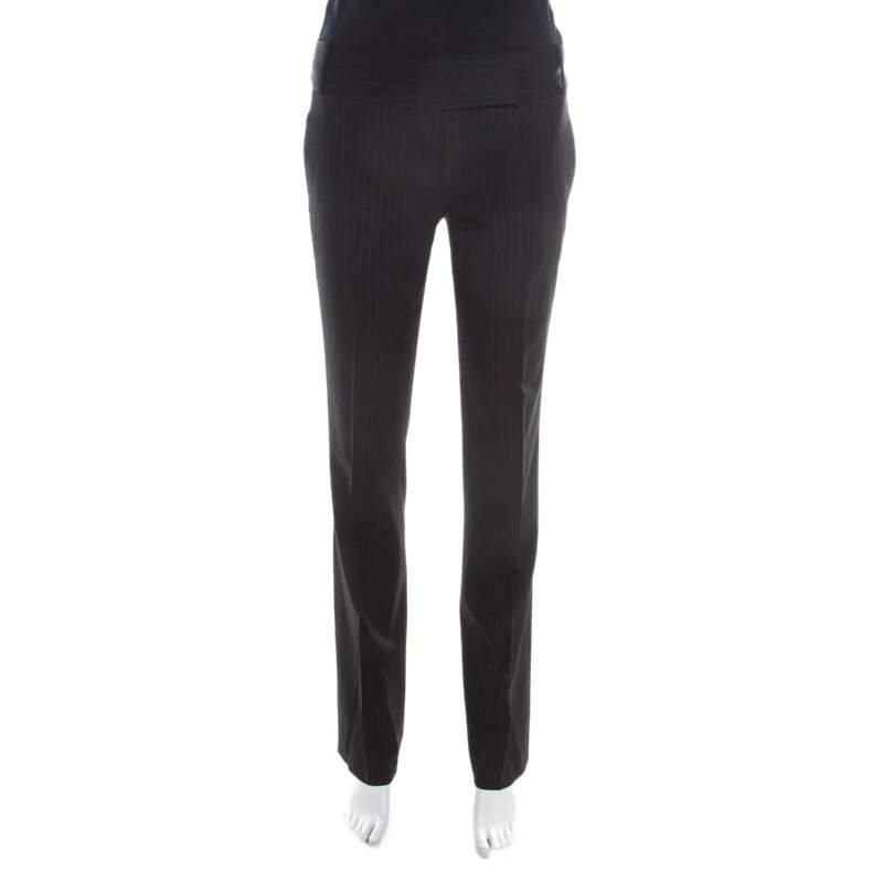 Boss By Hugo Boss Black Pin Striped Tailored Trousers M