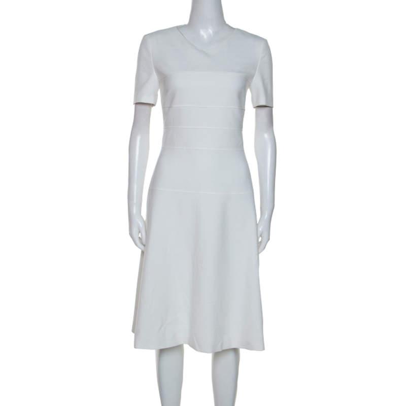 Boss By Hugo Boss White Cotton Blend Knee Length Diopela Dress S