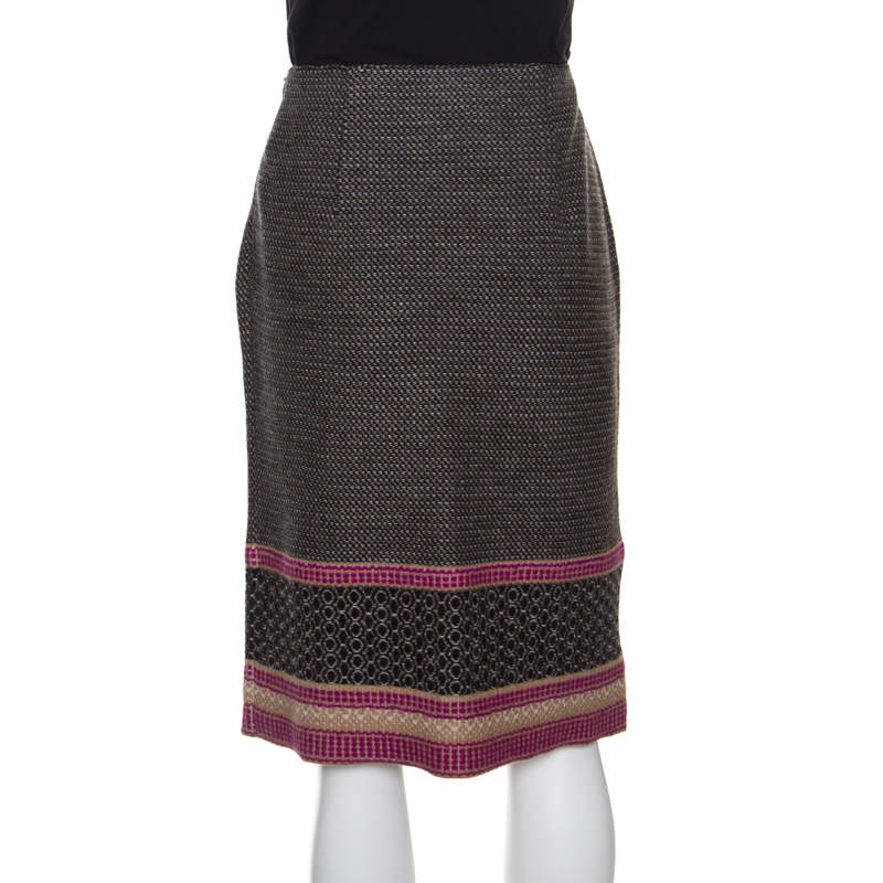 Bottega Veneta Multicolor Patterned Wool Knit Pencil Skirt S
