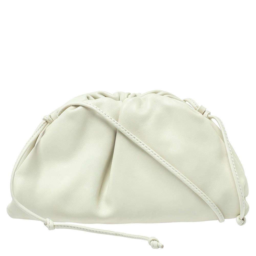 Bottega Veneta Ivory Leather Mini Pouch Bag