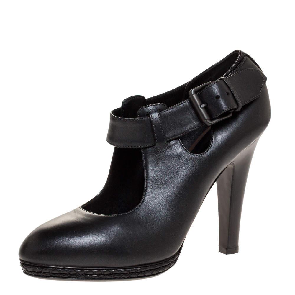 Bottega Veneta Black Leather Braided Platform Ankle Strap Pumps Size 38