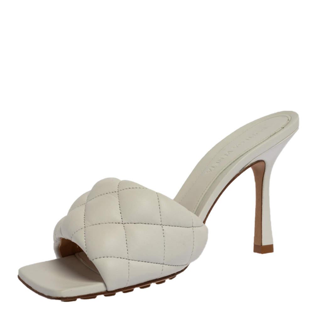 Bottega Veneta White Leather Padded Slide Sandals Size 37