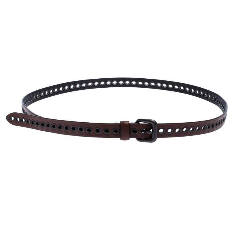 Bottega Veneta Brown Eyelet Leather Double Wrap Buckle Belt 140CM