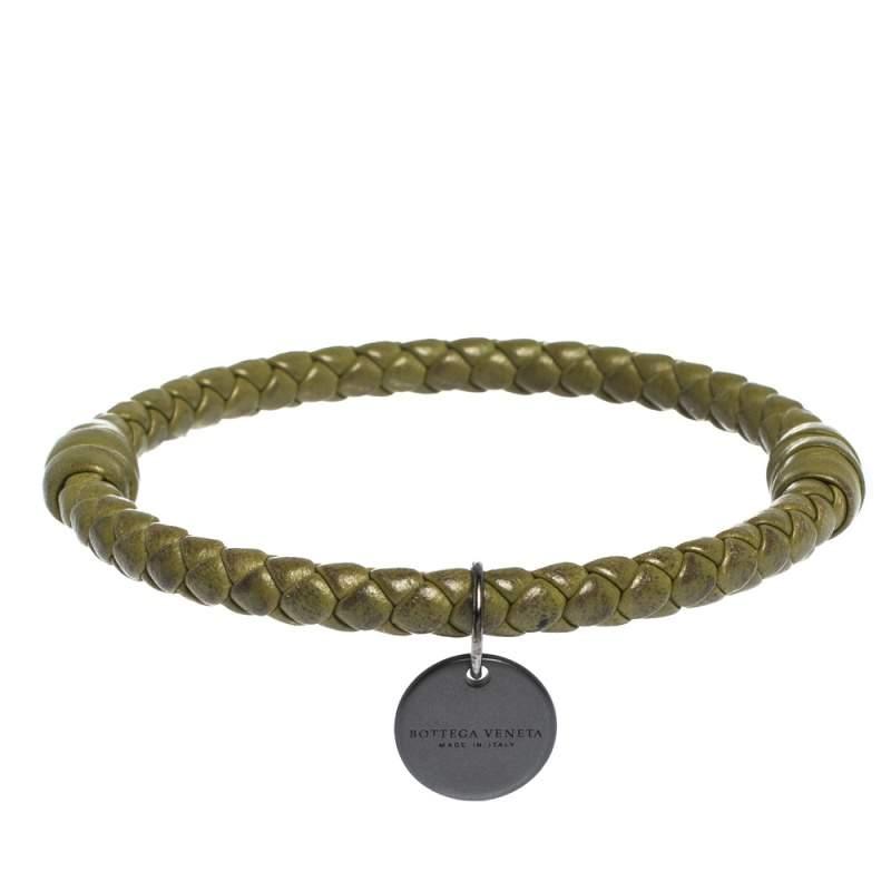 Bottega Veneta Green Intrecciato Leather Bangle Bracelet