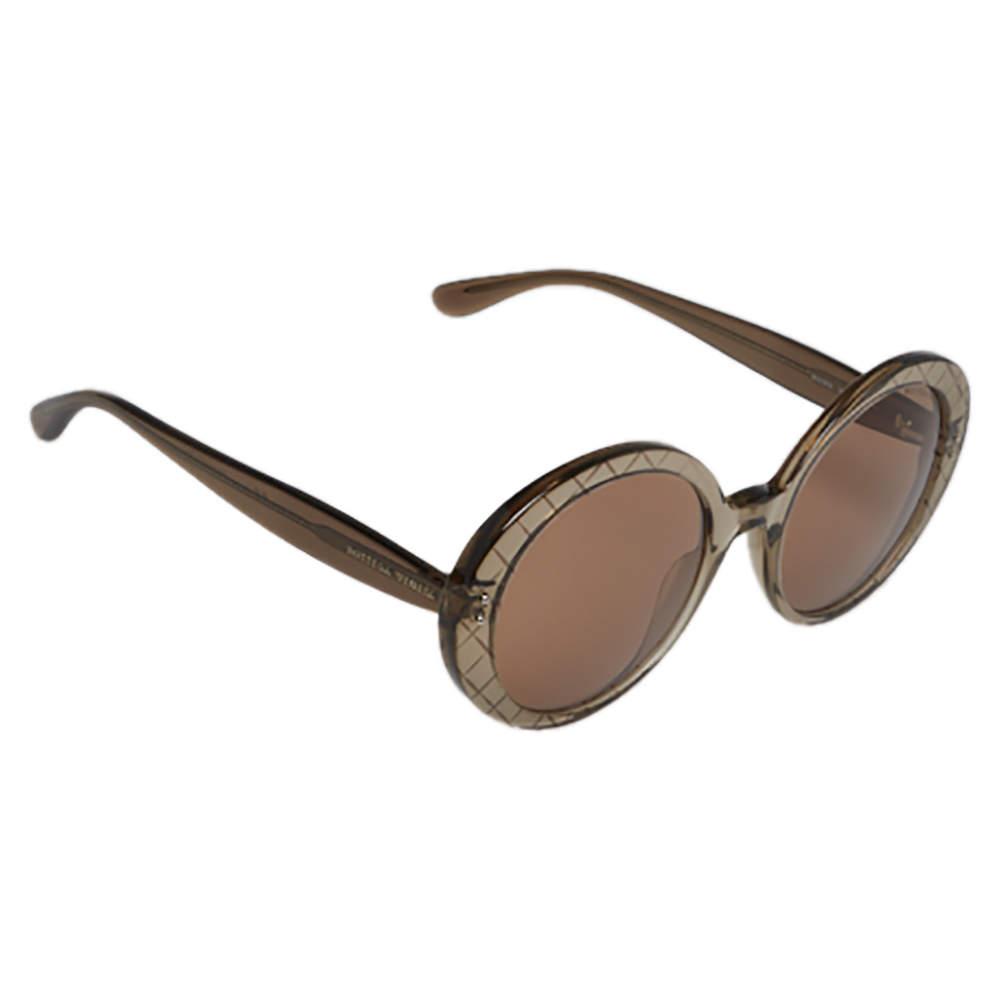 Bottega Veneta Clear Brown Crosshatch / Brown BV0197S Round Sunglasses