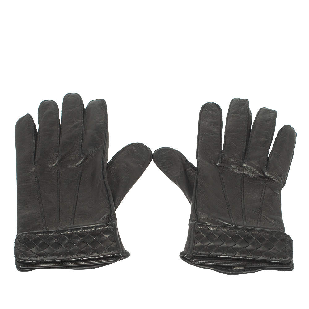 Bottega Veneta Black Intreciatto Leather Gloves Size 85