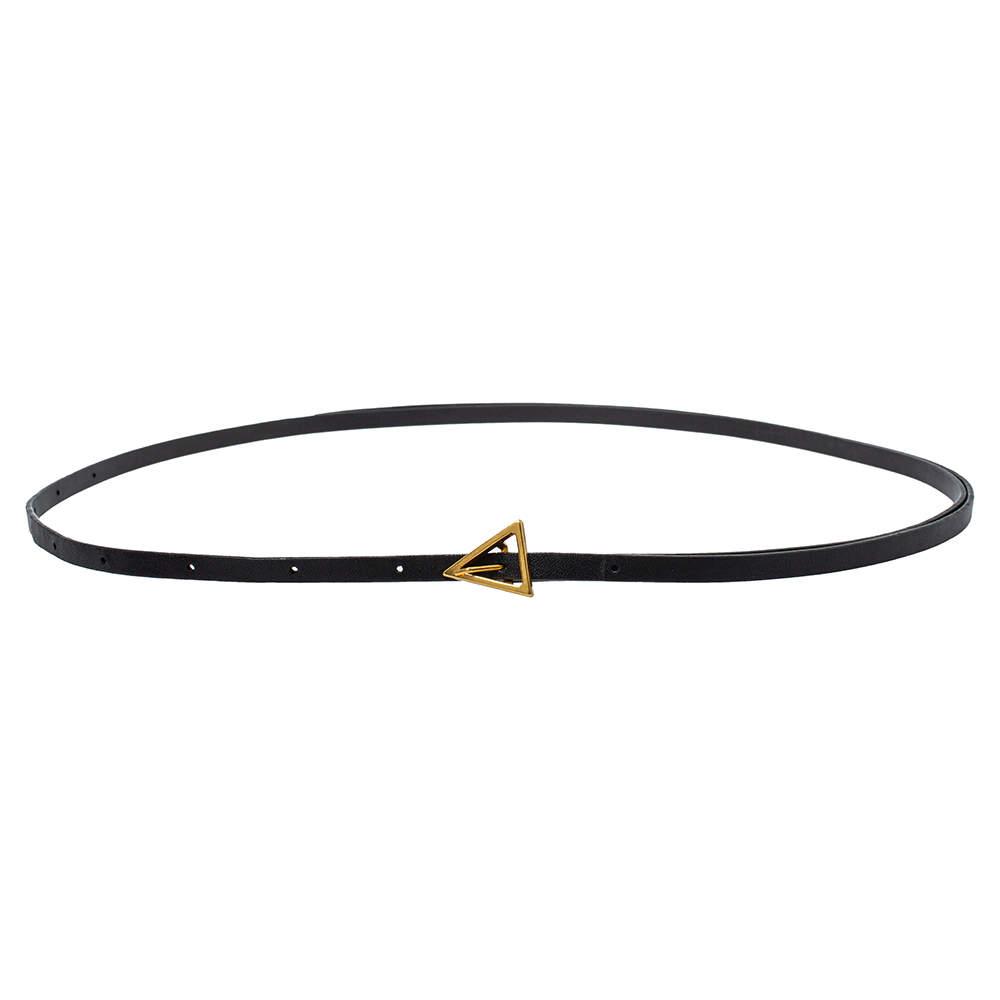 حزام بوتيغا فينيتا رفيع إبزيم مثلث جلد أسود 85 سم