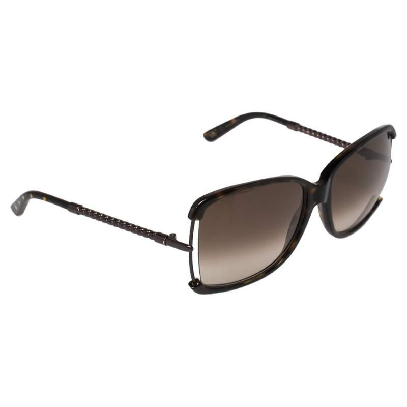 Bottega Veneta Copper Intrecciato/Brown BV 132S Square Sunglasses