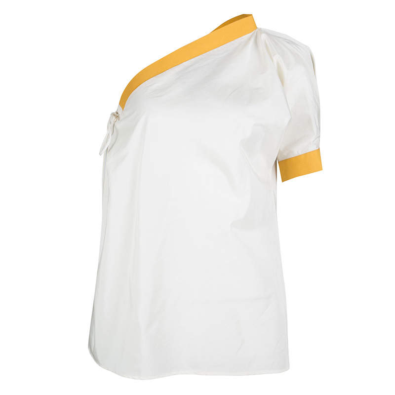Bottega Veneta Cream and Yellow Tie Detail One Shoulder Top S