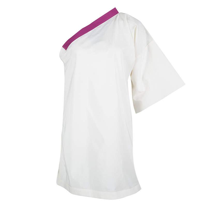 Bottega Veneta Cream and Purple One Shoulder Tunic Top M
