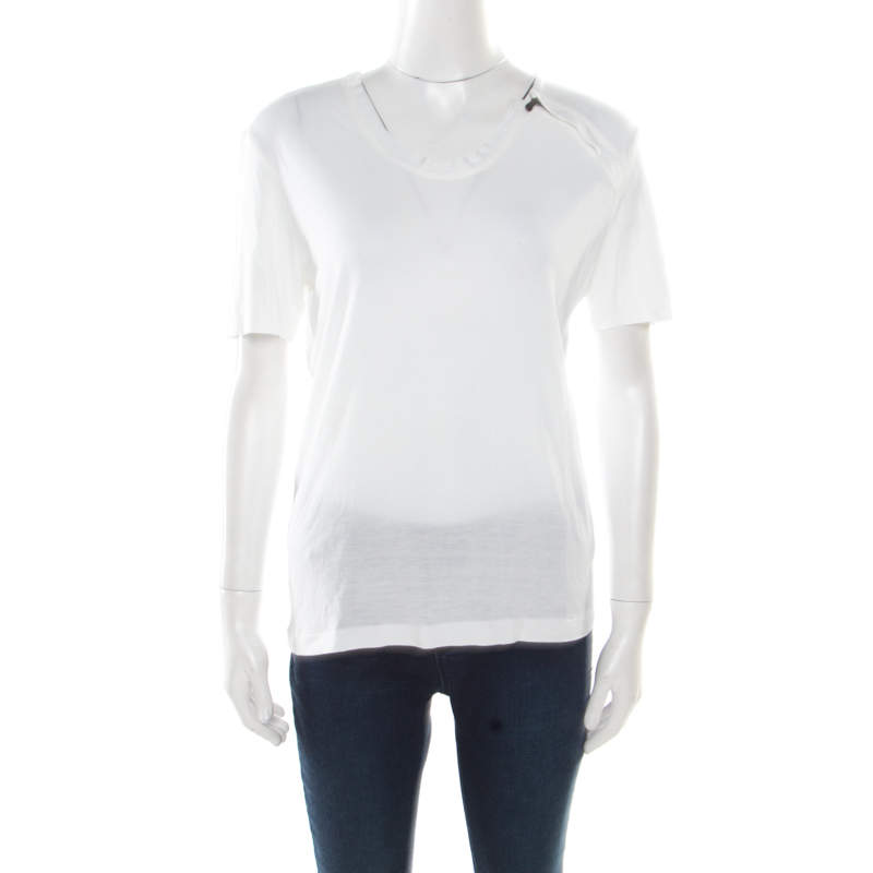 Bottega Veneta Off White Stretch Knit Zipper Detail T-Shirt S