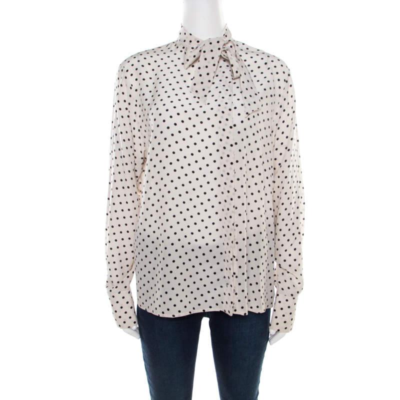 Bottega Veneta Mist White and Black Polka Dotted Silk Neck Tie Detail Blouse M