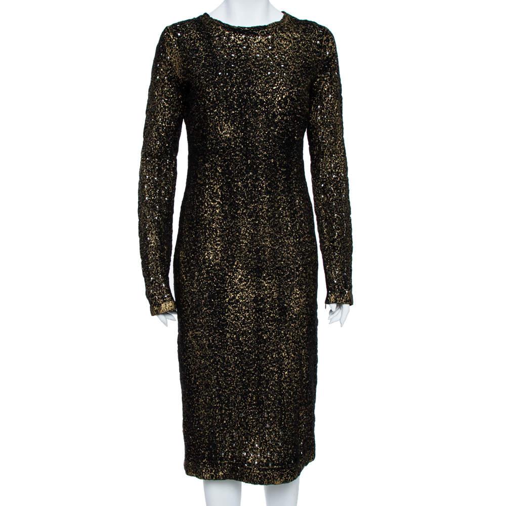 Bottega Veneta Black Foil Print Wool Midi Sheath Dress M