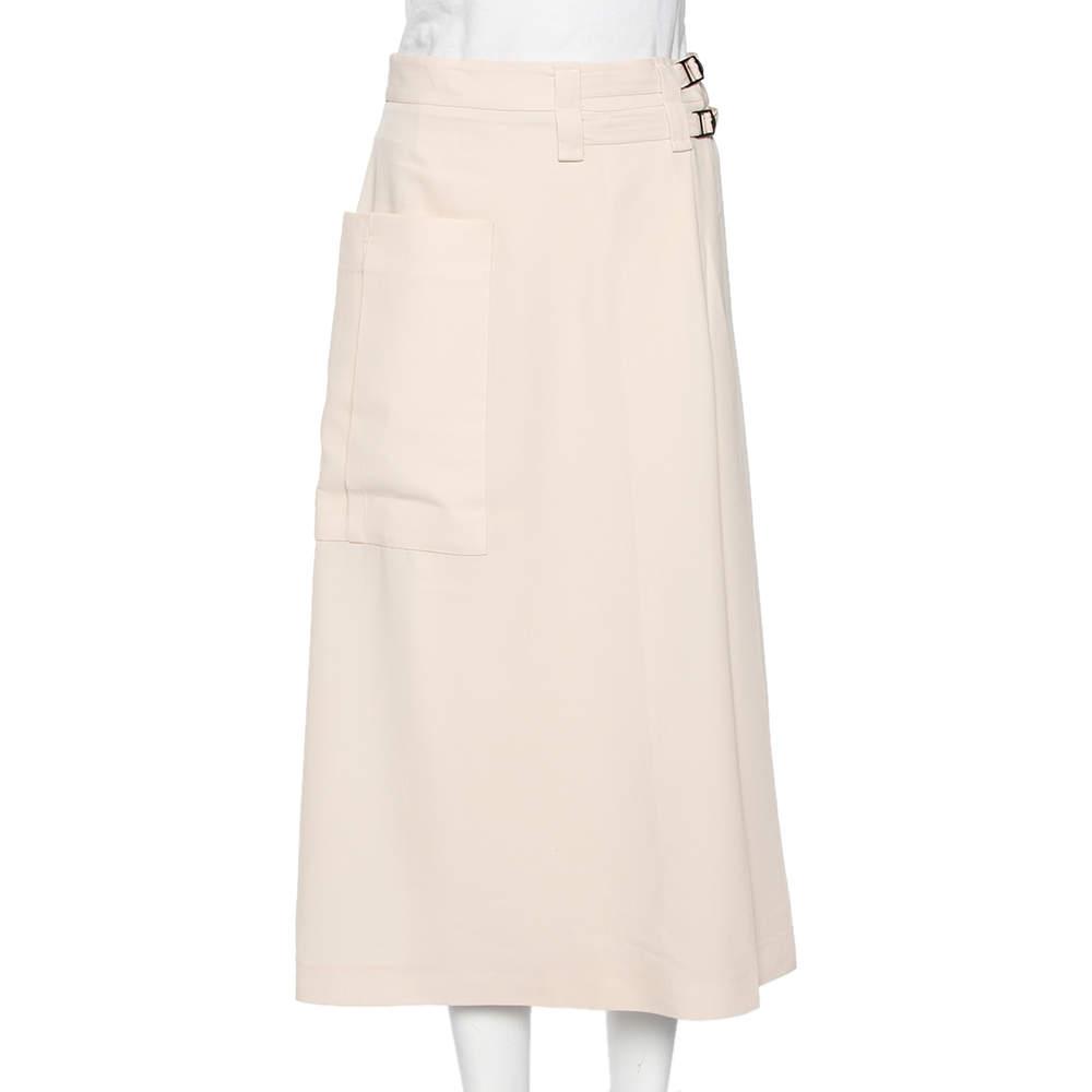 Bottega Veneta Cream Wool Buckled Waist Wrap Midi Skirt S