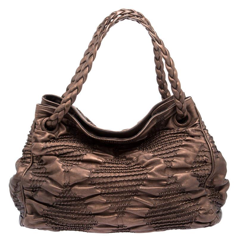 Bottega Veneta Bronze Pleated Leather Limited Edition 029/200 Hobo
