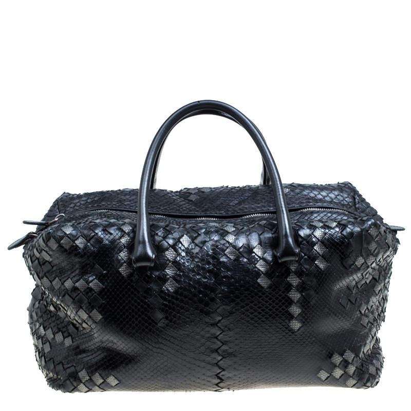 Bottega Veneta Black Python and Leather Intrecciato Detail Brick Bag