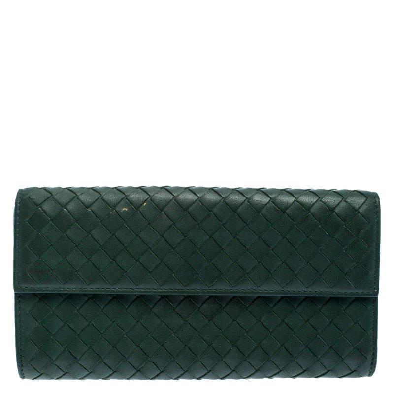 Bottega Veneta Green Intrecciato Leather Continental Flap Wallet