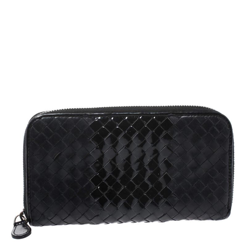 Bottega Veneta Black Intrecciato Leather and Patent Leather Zip Around Wallet