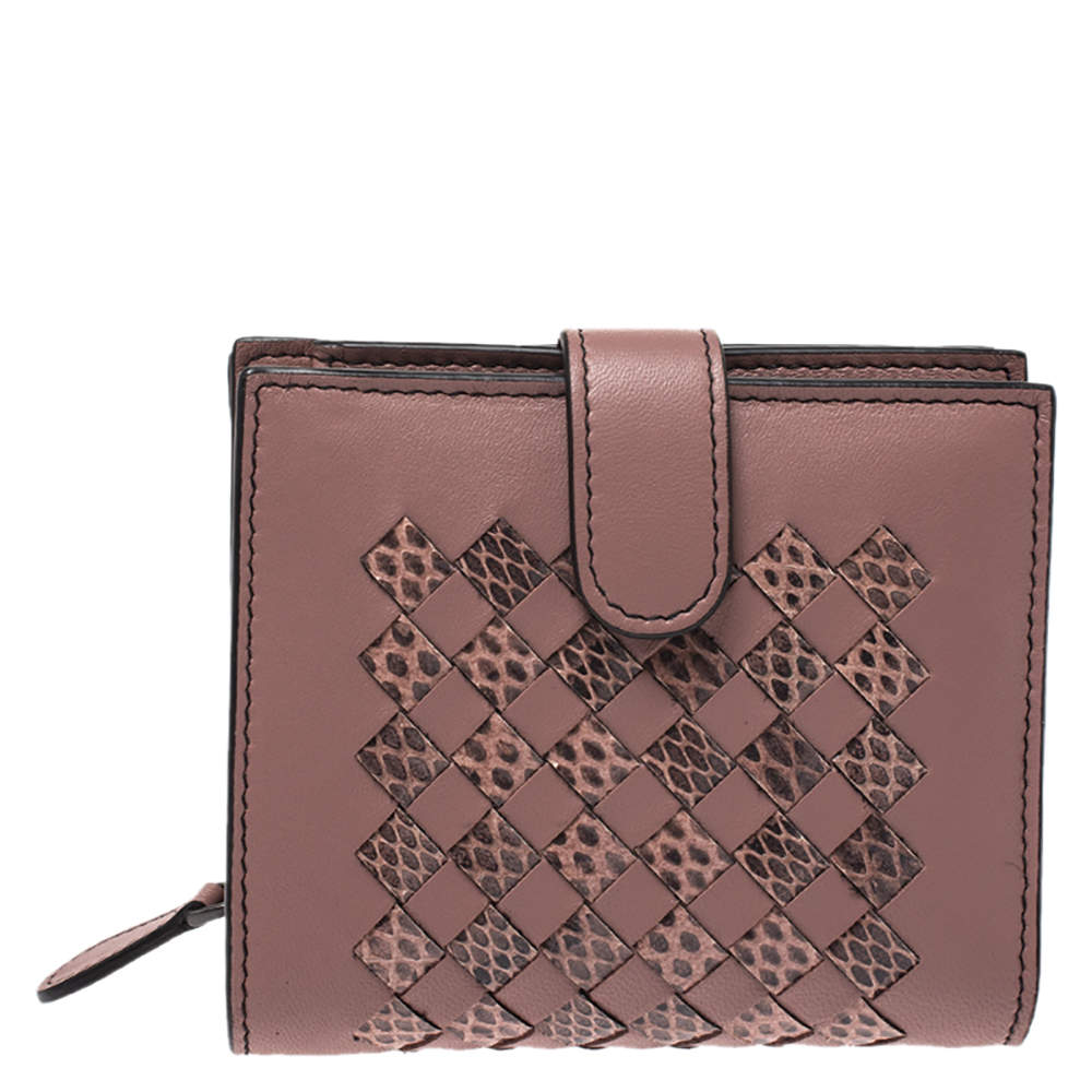 Bottega Veneta Old Rose Leather and Python Compact Wallet