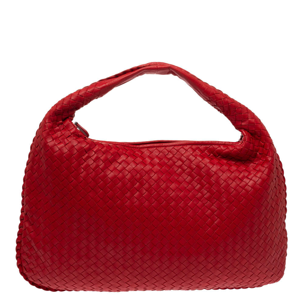 Bottega Veneta Crimson Red Intrecciato Leather Large Veneta Hobo