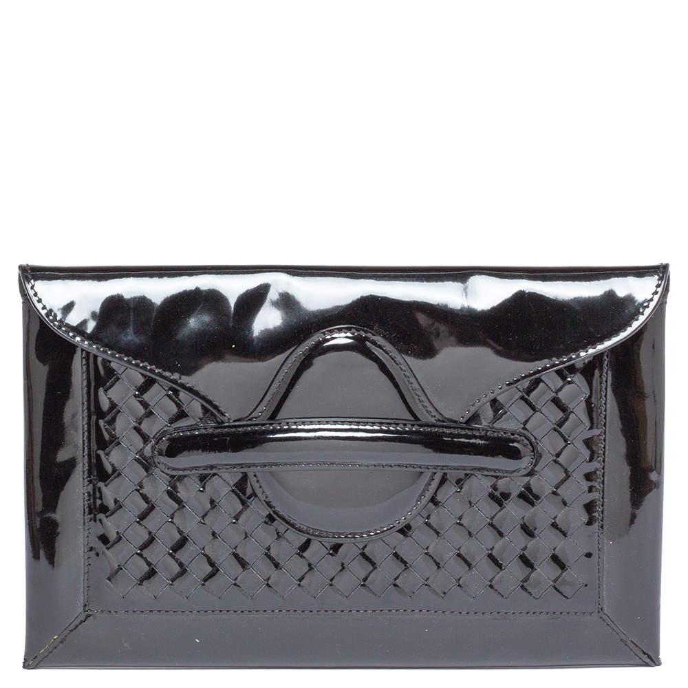 Bottega Veneta Black Patent Leather Envelope Clutch