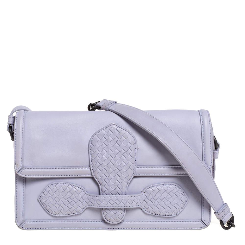 Bottega Veneta Light Lilac Leather Rialto Shoulder Bag