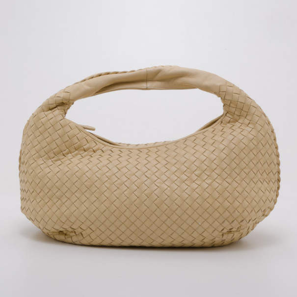 Bottega Veneta Cream Intrecciato Leather Medium Belly Veneta Hobo