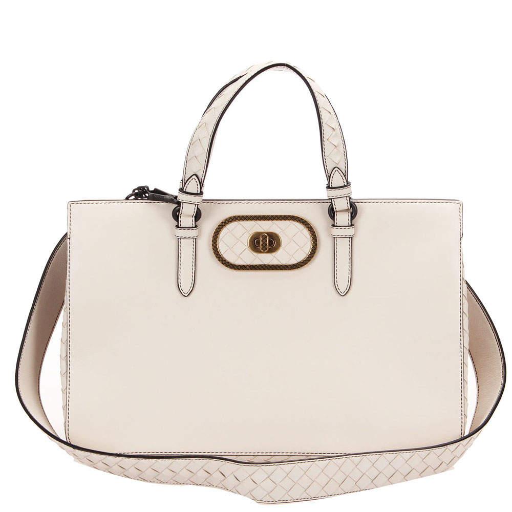 Bottega Veneta White Intrecciato Leather Satchel Bag