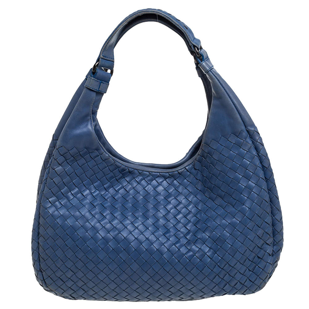 Bottega Veneta Blue Leather Intrecciato Campana Hobo