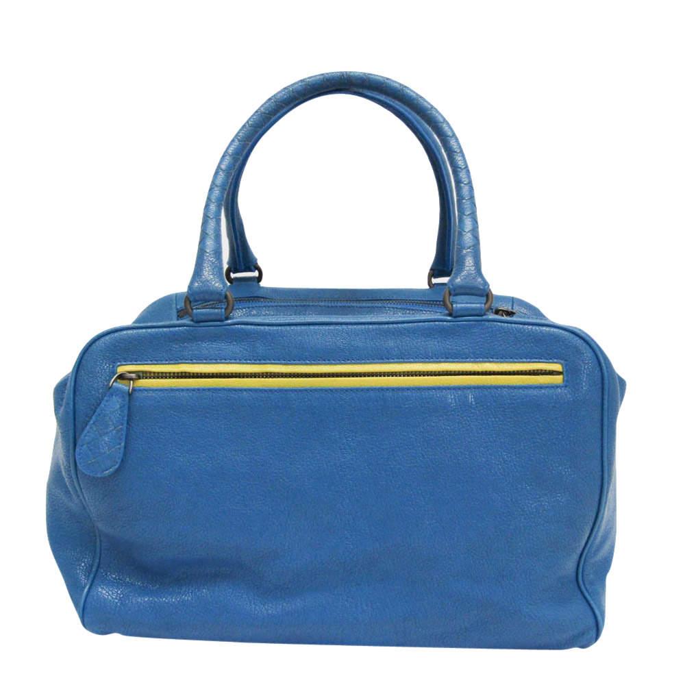Bottega Veneta Blue/Yellow Leather Brera Satchel