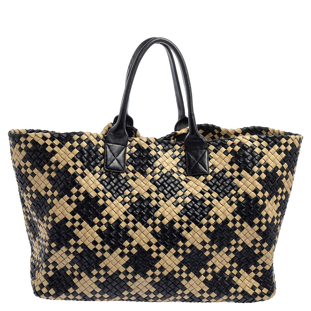 Bottega Veneta Black/Beige Intrecciato Leather Limited Edition 234/500 Cabat Tote