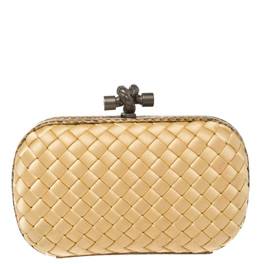 Bottega Veneta Beige Satin and Snakeskin Trim Knot Clutch