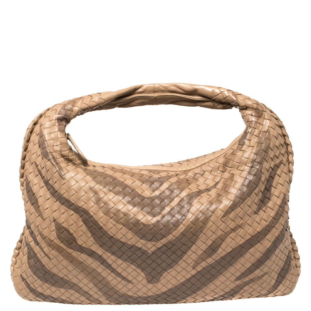 Bottega Veneta Beige Zebra Print Leather and Snakeskin Trim Veneta Hobo
