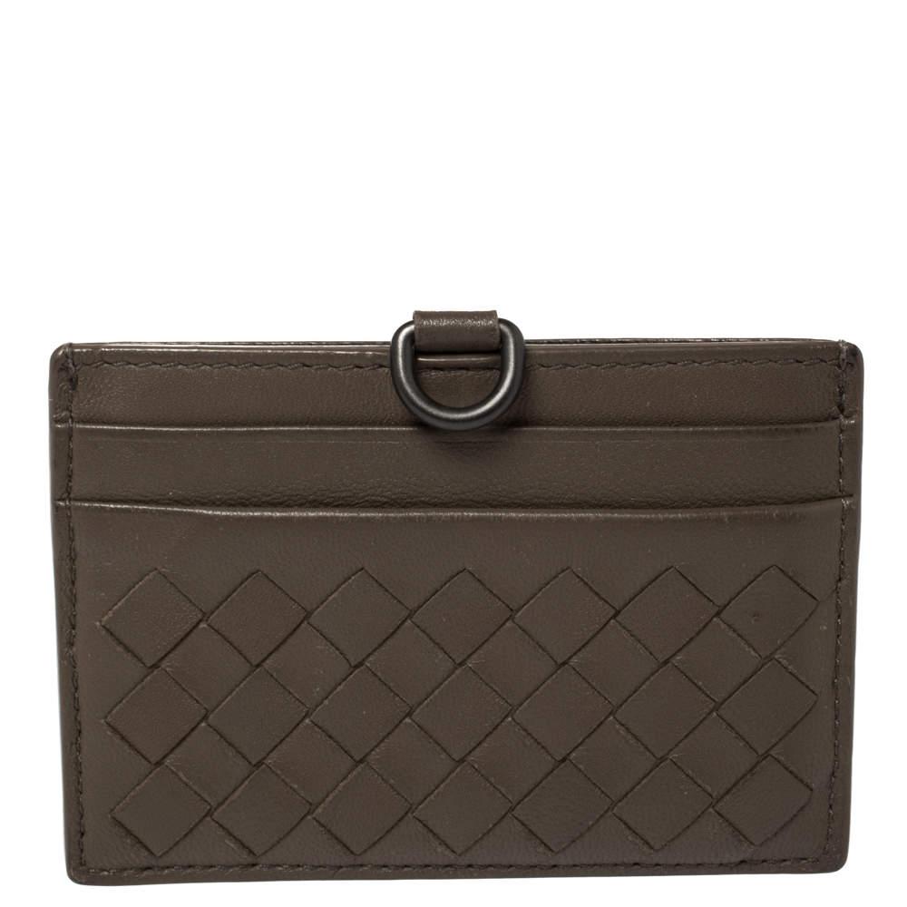 Bottega Veneta Brown Intrecciato Leather Card Case