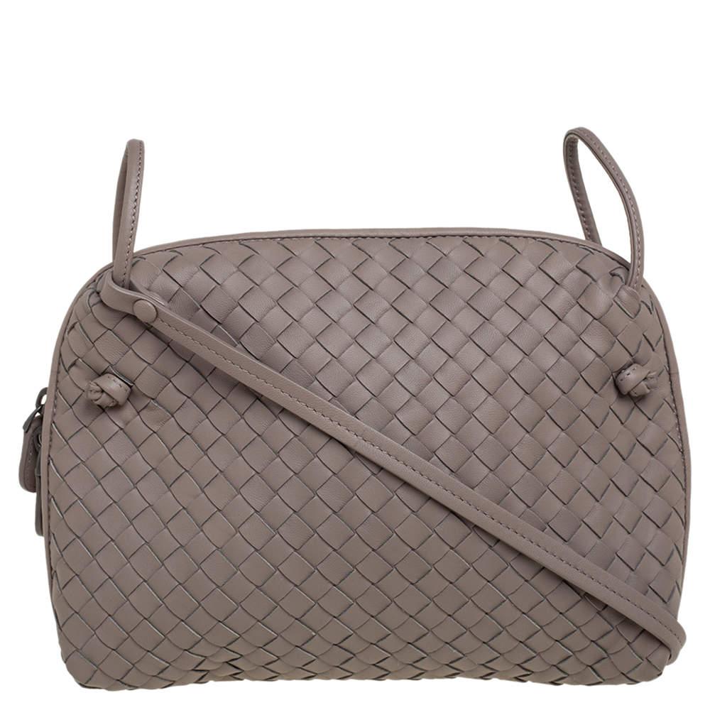 Bottega Veneta Taupe Intrecciato Leather Nodini Crossbody Bag