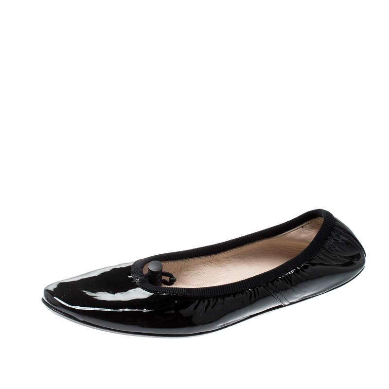 Bottega Veneta Black Patent Leather Scrunch Ballet Flats Size 34