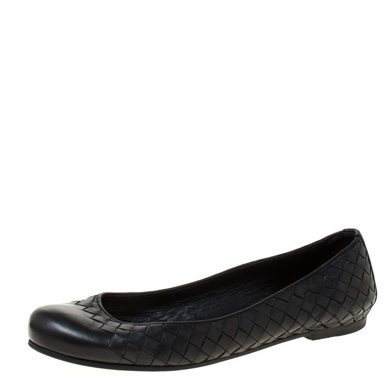 Bottega Veneta Black Intrecciato Leather Ballet Flats Size 38