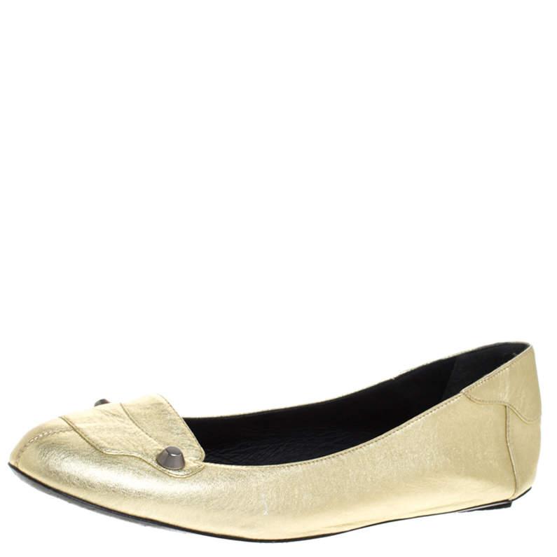 Bottega Veneta Gold Leather Studded Ballet Flats Size 38.5