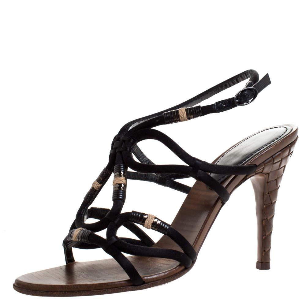 Bottega Veneta Black Satin And Leather Intrecciato Heel Sandals Size 38.5