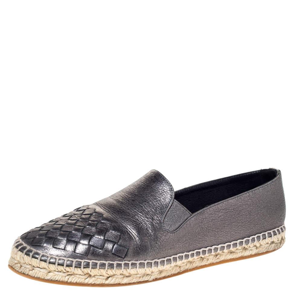 Bottega Veneta Metallic Gunmetal Leather Intrecciato Leather Espadrille Sneakers Size 38