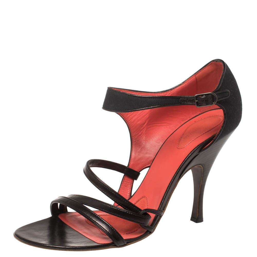 Bottega Veneta Black Canvas and Leather Sandals Size 40