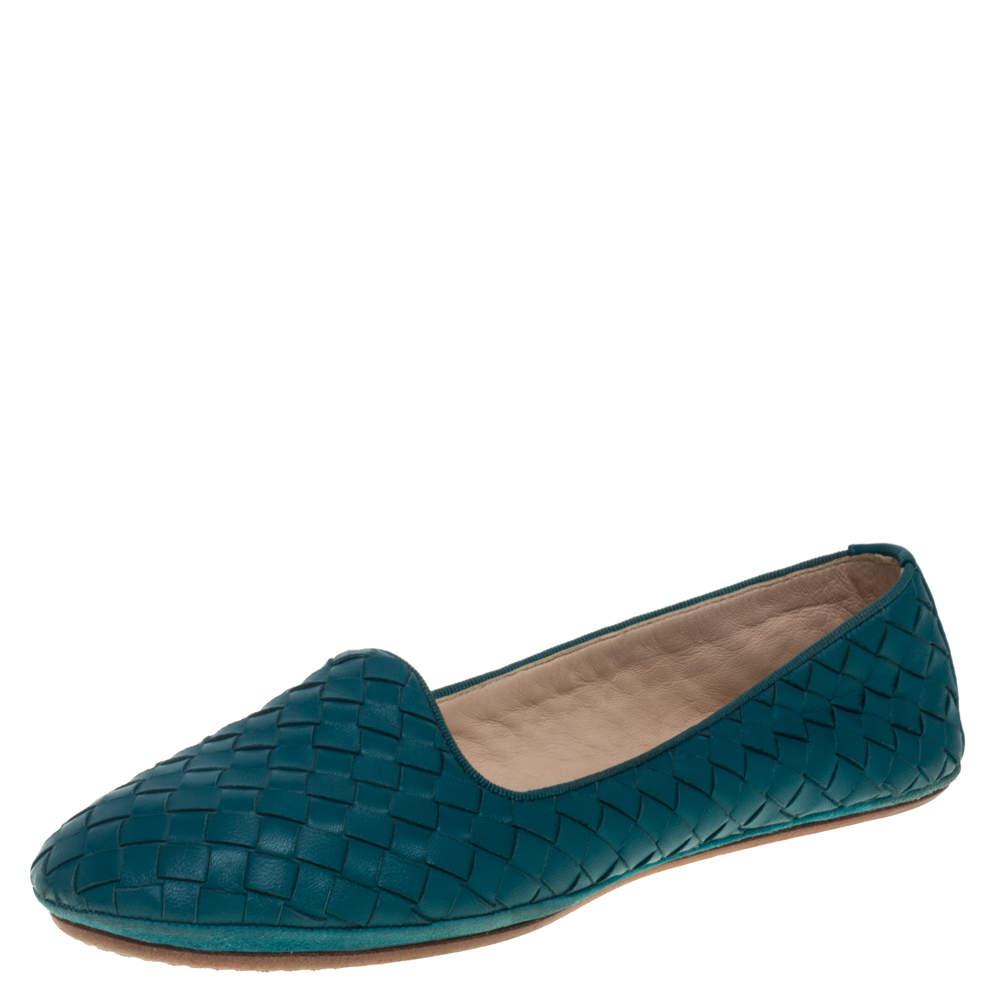 Bottega Veneta Blue Intrecciato Leather Smoking Slippers Size 37.5
