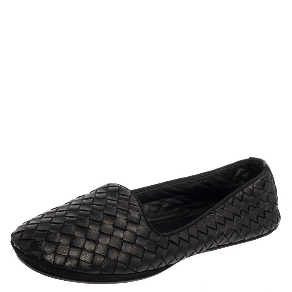Bottega Veneta Black Intrecciato Leather Smoking Slipper Size 38