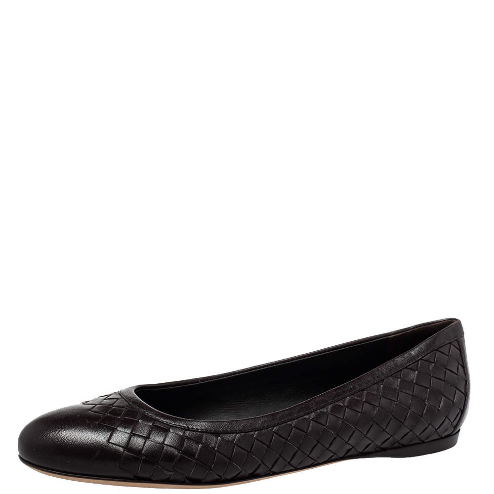حذاء باليرينا فلات بوتيغا فينيتا جلد إنترشياتو بني مقاس 39