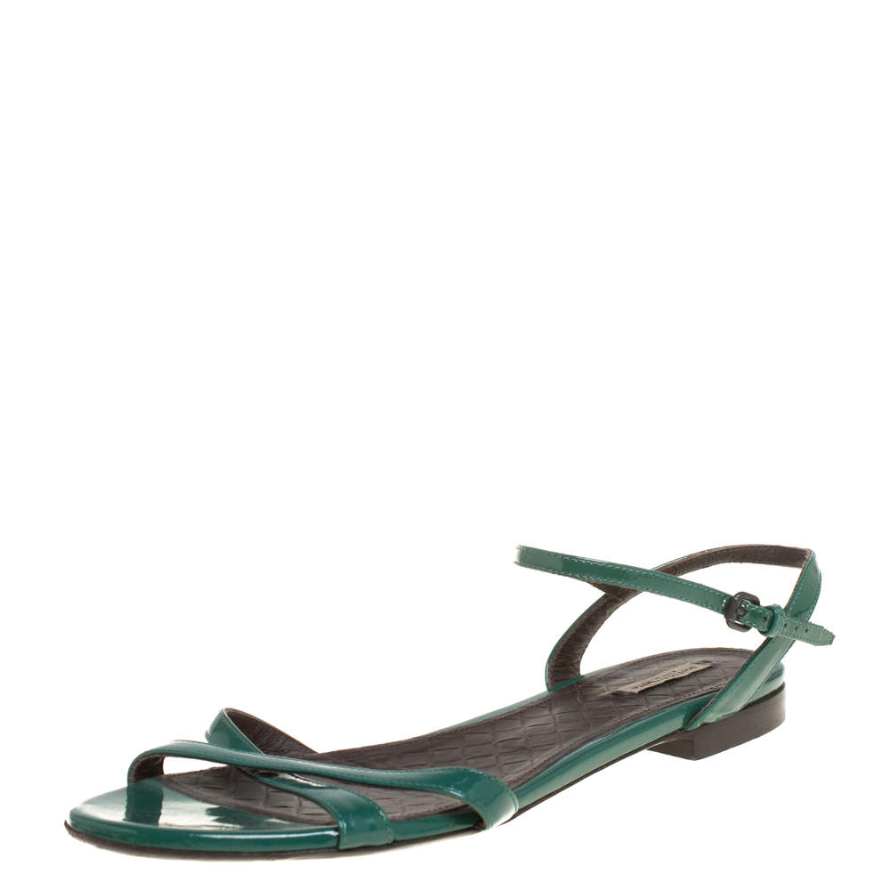 Bottega Veneta Green Patent Leather Sandals Size 39