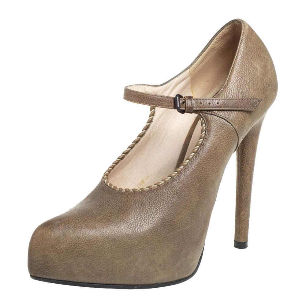 حذاء كعب عالي بوتيغا فينيتا ماري جان نعل سميك جلد بني مقاس 36