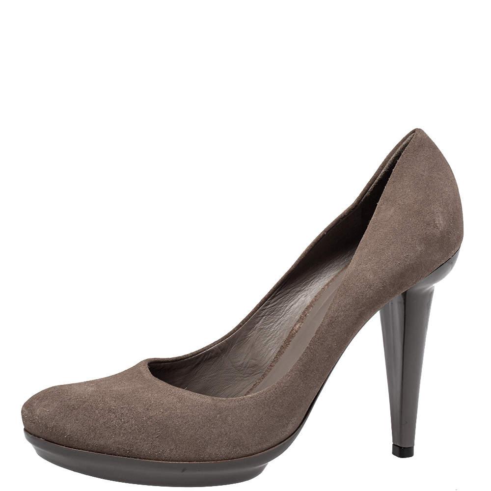Bottega Veneta Brown Suede Round Toe Pumps Size 40