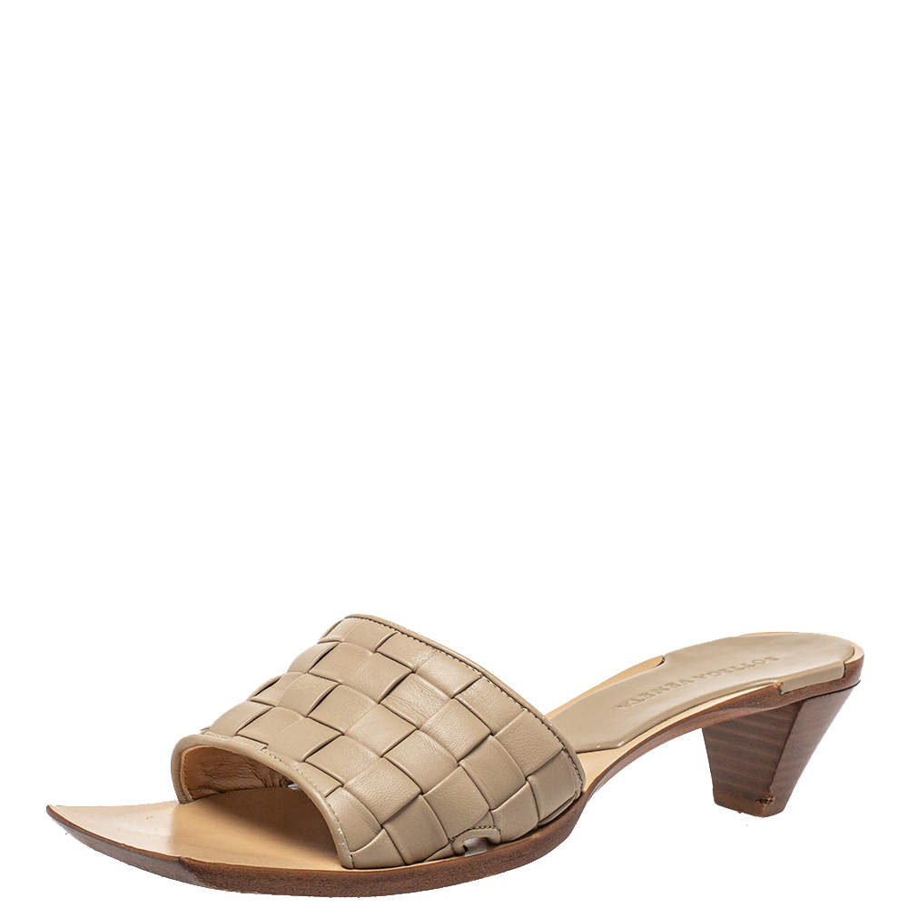 Bottega Veneta Beige Intrecciato Leather Square Toe Slide Sandals Size 39