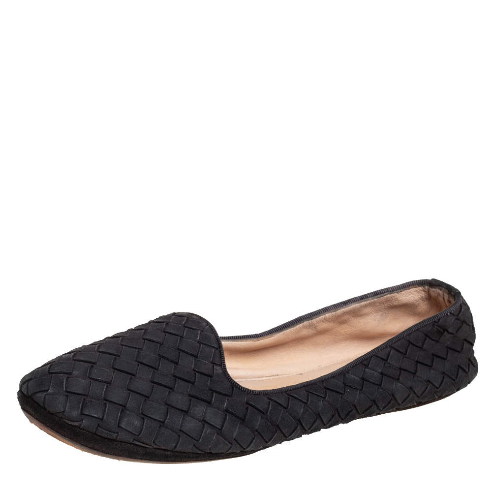 Bottega Veneta Black Interecciato Suede Smoking Slippers Size 37